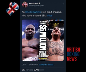 Dillian Whyte and Andy Ruiz Jr argue over $5 million offer to fight