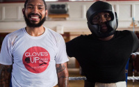 Boxing takes a seat to highlight knife crime Ashley Theophane and Mick Hennessy support Gloves Up, Knives Down campaign sam eggington how many dead deaths in london stabbings 2020 2019 2021 prison fight time date tv channel 5